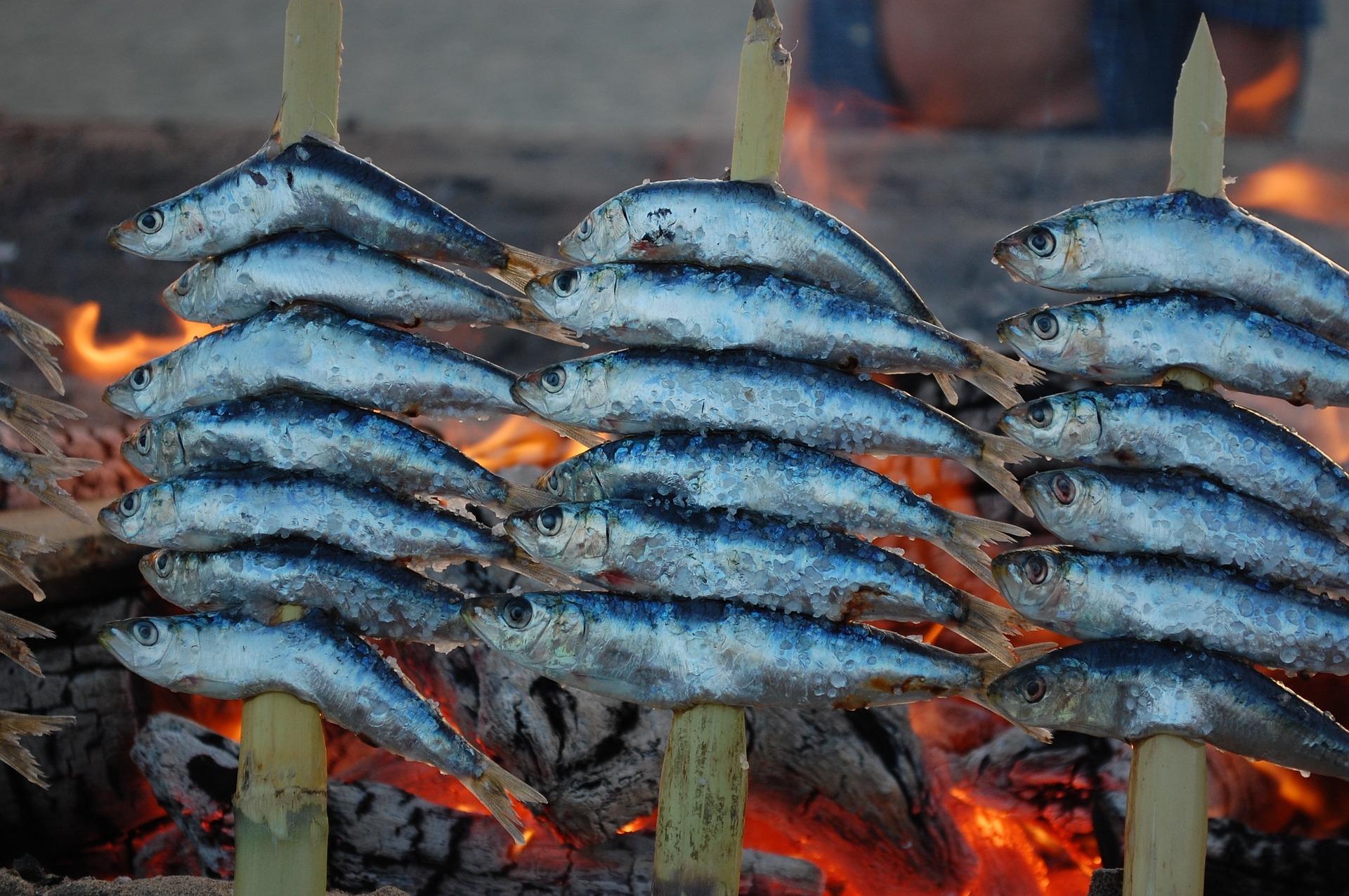 Fisch grillen am Strand