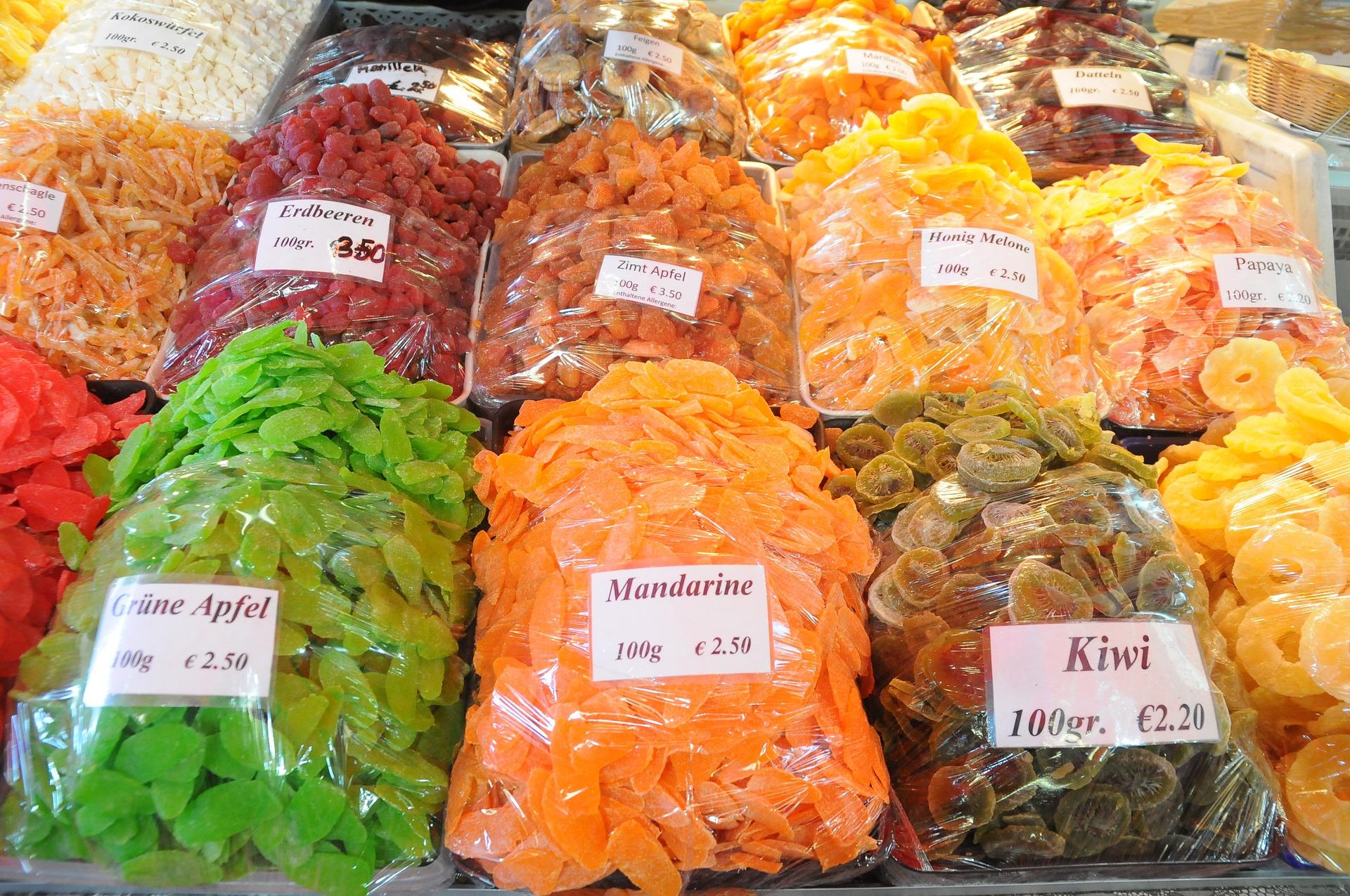 Kandierte Früchte auf dem Naschmarkt Wien