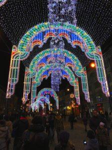 Straßen Weihnachtsbeleuchtung in Sibiu